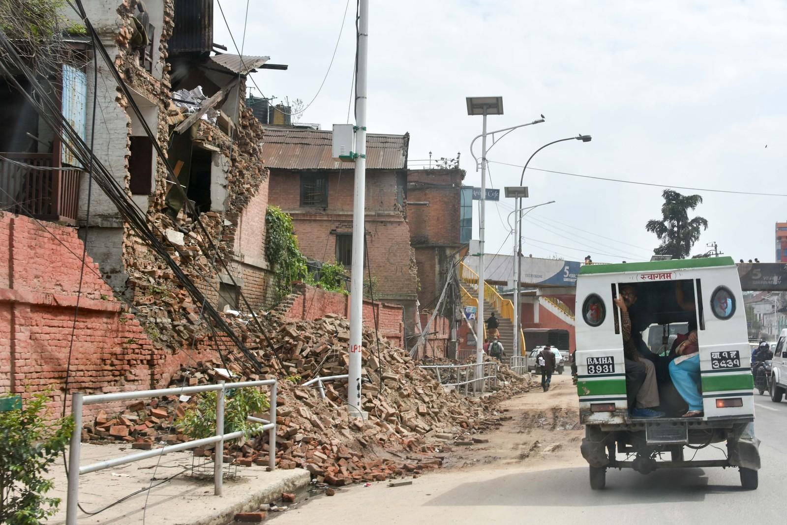 En av gatene i sentrum av Katmandu.