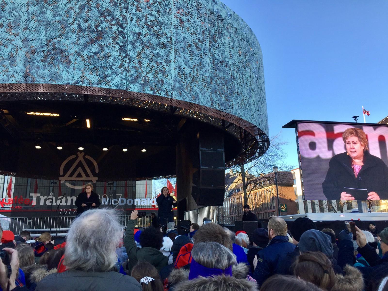 Erna Solberg holdt tale under den offisielle åpningen av Tråante 2017.