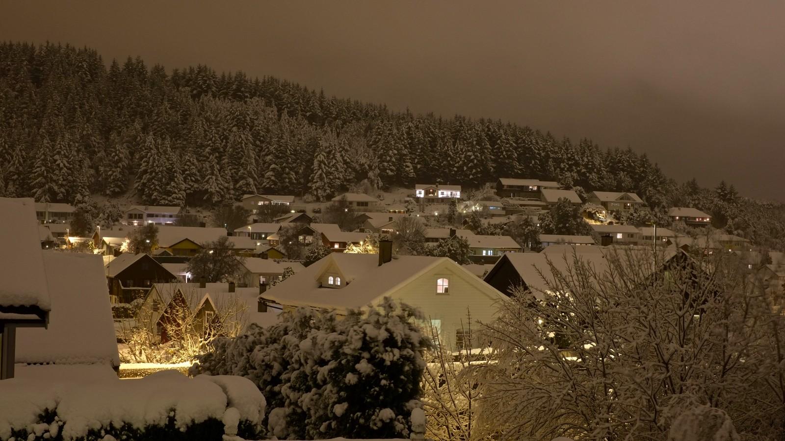 Snø i Haugesund.
