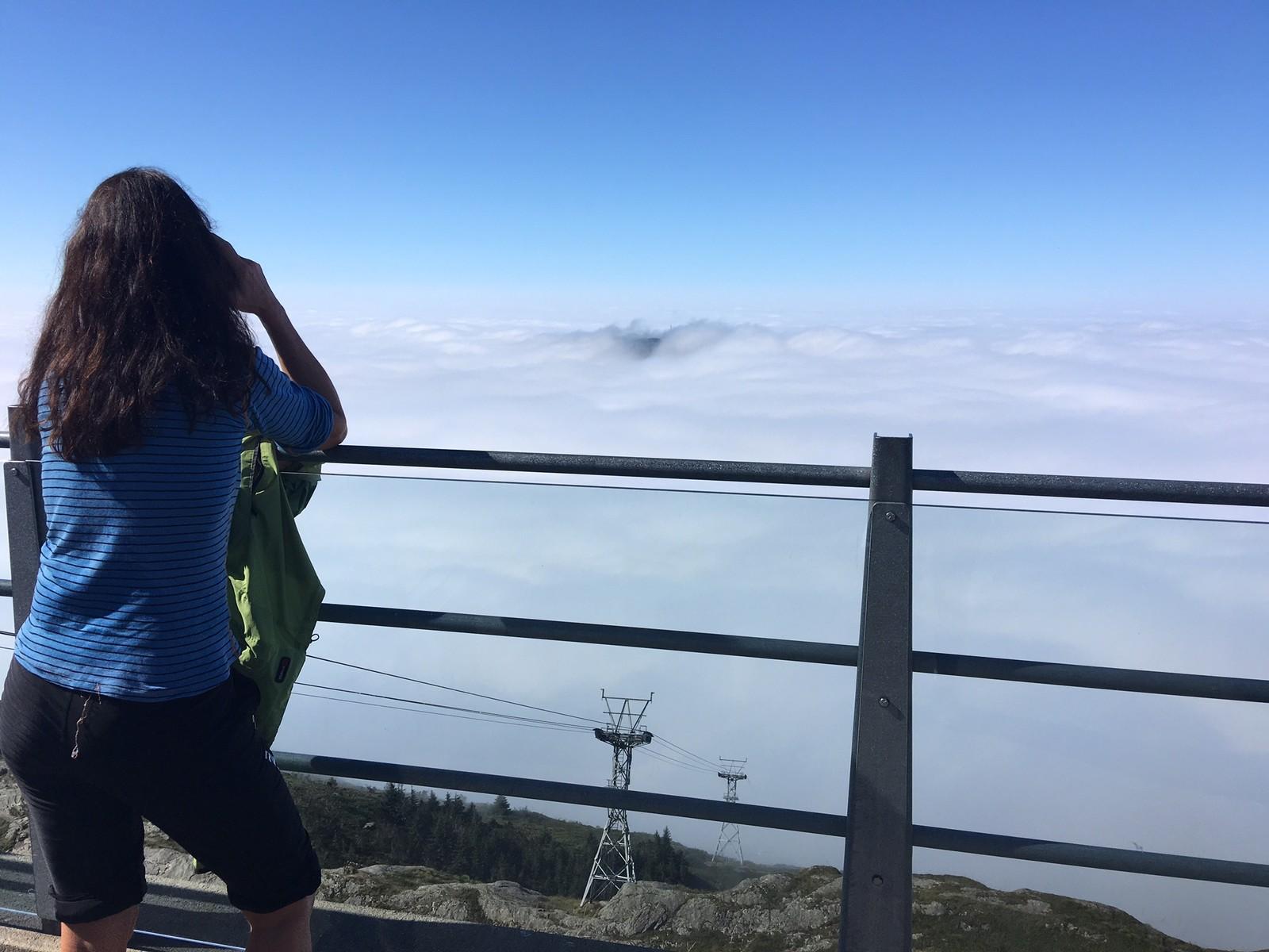 UVANLIG UTSIKT: Det er vanligvis en helt annen utsikt som venter turistene på Ulrikens topp.