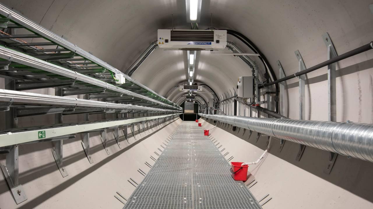 Den nye tunnelen inn til Svalbard globale frøhvelv