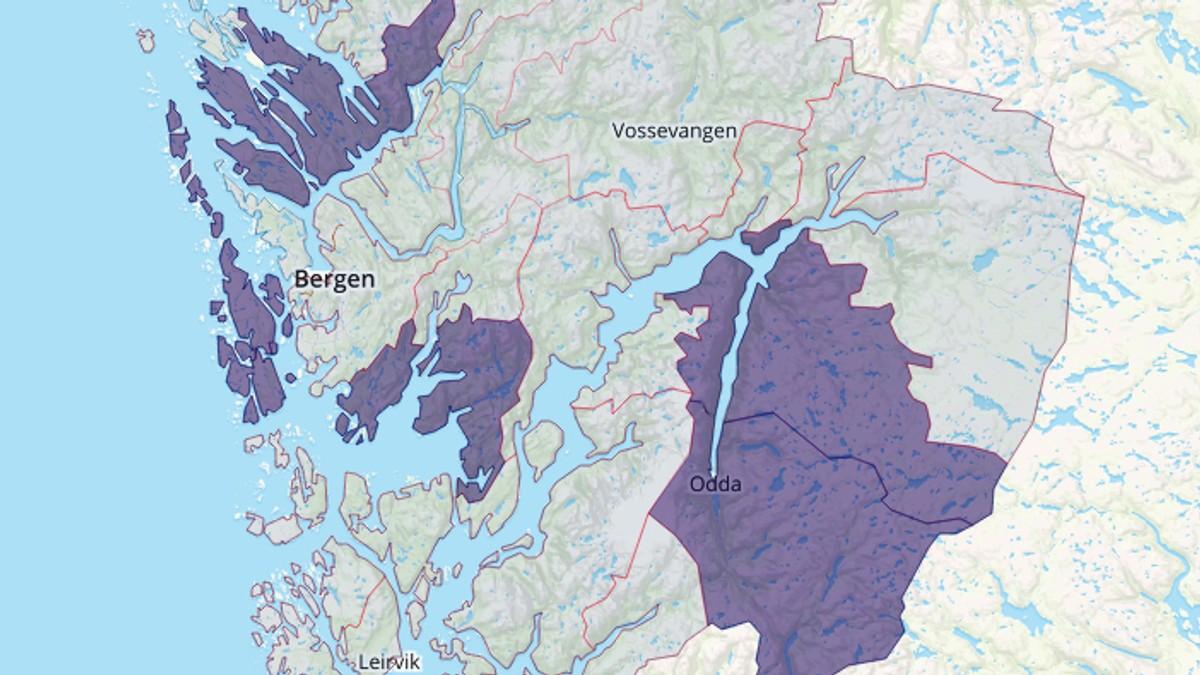 bjørnefjorden kart Slik blir det nye kartet over Hordaland – NRK Hordaland – Lokale  bjørnefjorden kart
