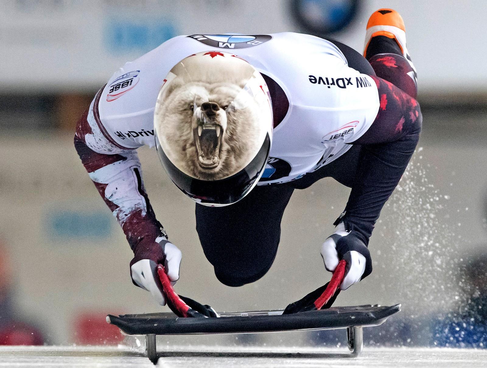 Rask som en isbjørn er et sjeldent brukt ordtak, men kanadiske Barrett Martineau kastet seg uti det i denne akekonkurransen i tyske Altenberg. Innsatsen ga årsbeste for Martineau - en 15. plass.