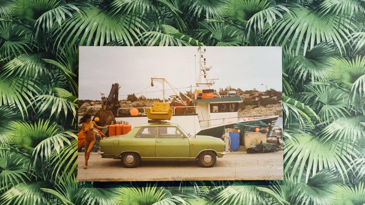 naken dame grønn bil