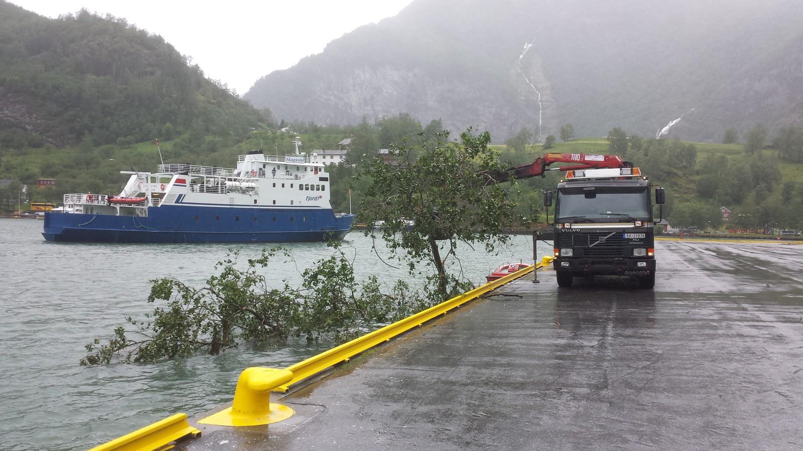 Her dreg dei på land treverks som Flåmselva sender ut i fjorden. Hamnevesenet hjelper til.