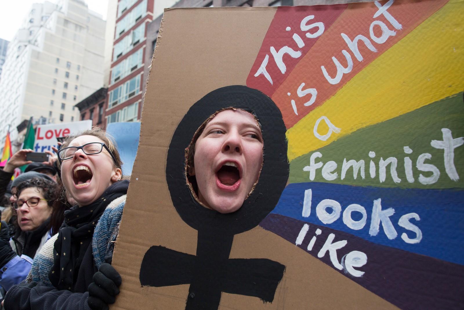 Slik ser en feminist ut, er budskapet fra denne demonstranten i New York.