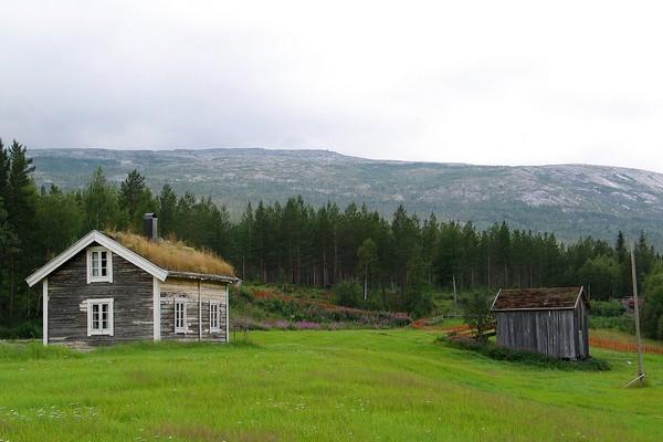 Bak stua står en gammel låve. Dette bildet deltok i Fotokonkurranse sommer 2009 -  Foto: Anne-Katrine Nordenborg