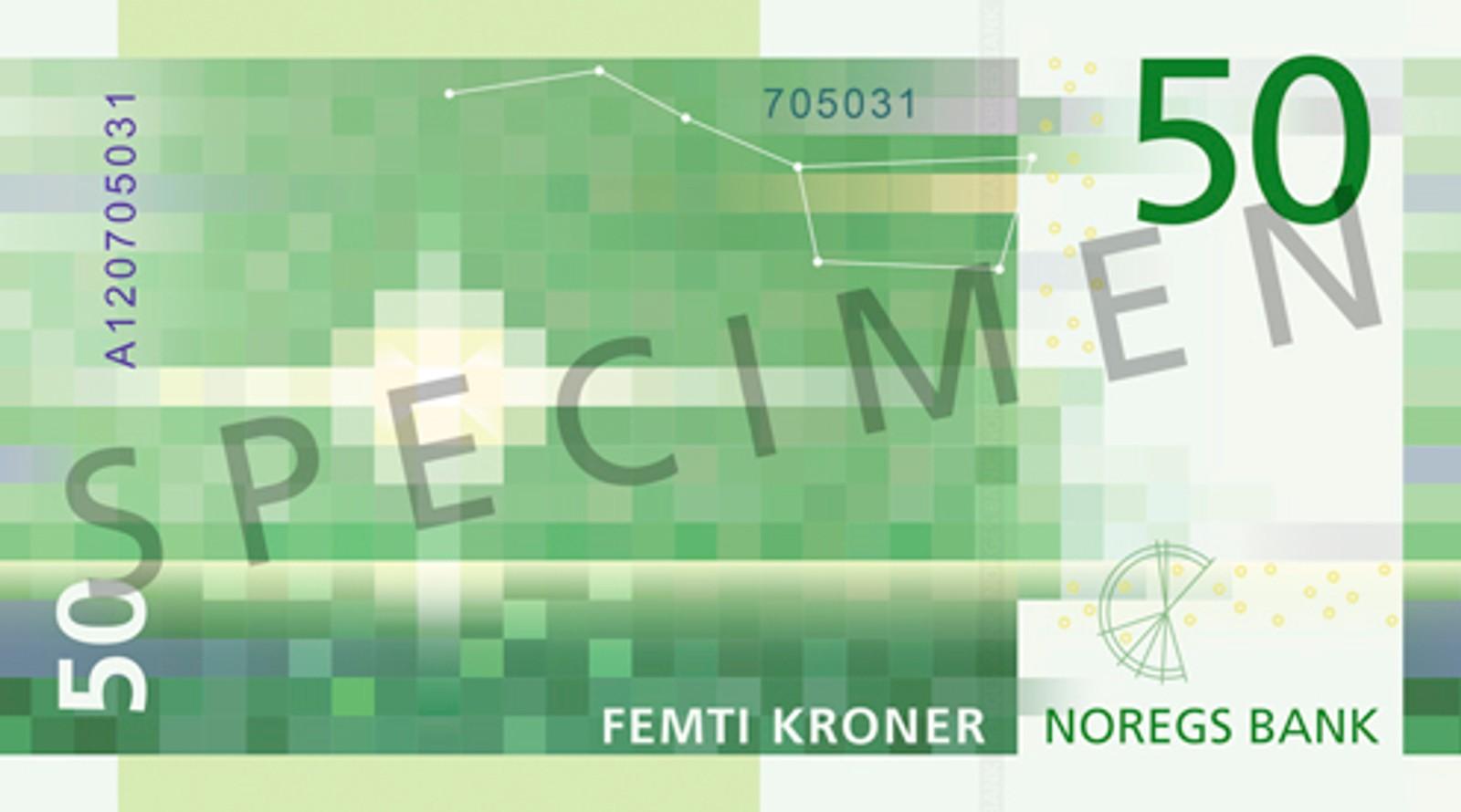 Mønsteret på 50-kroneseddelen er inspirert av et lyssignal fra et fyr. Seddelen skal tas i bruk fra 3. kvartal 2018.