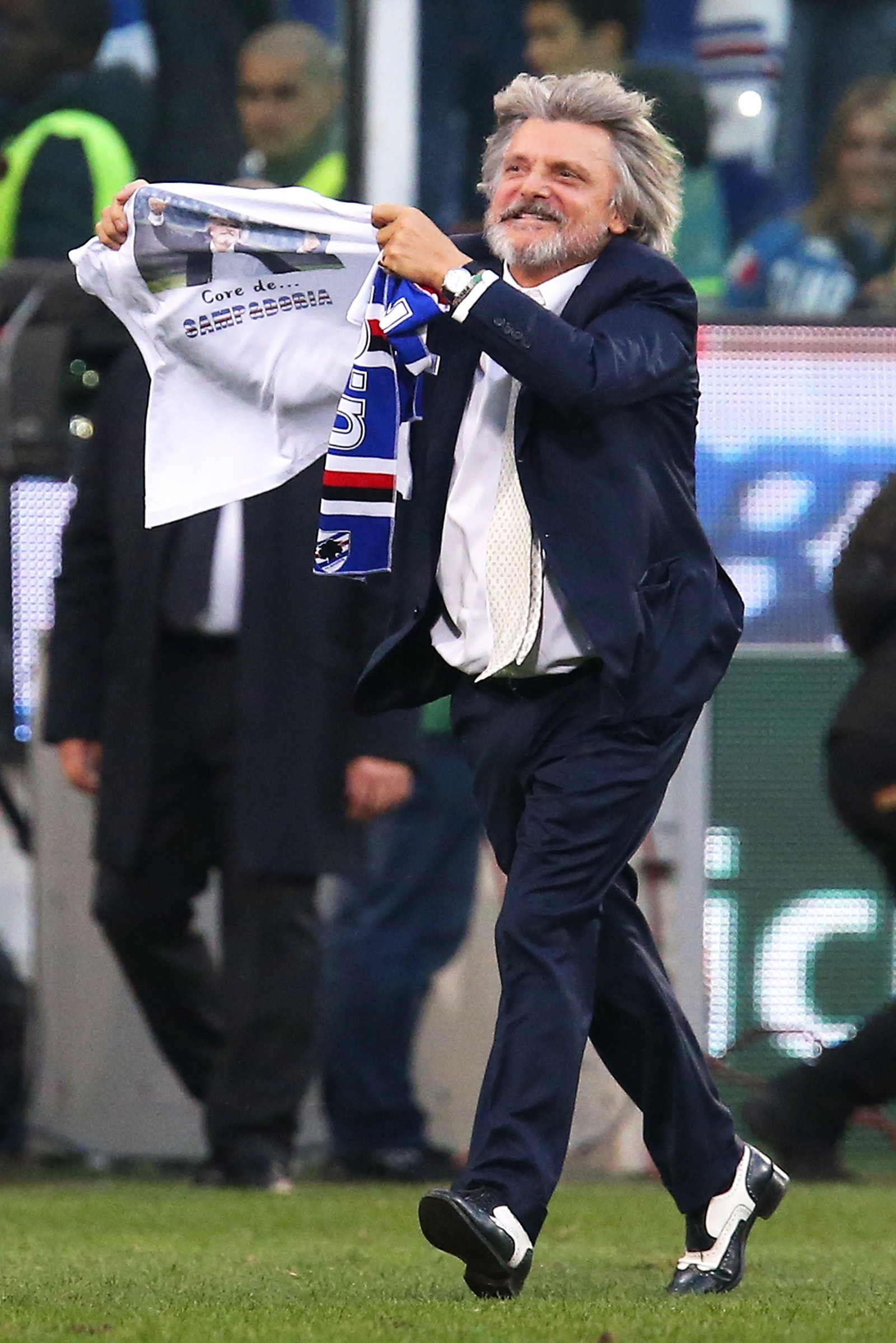 Sampdoria's president Massimo Ferrero celebrates at the end of the Italian Serie A football match Sampdoria Vs Fiorentina on November 2, 2014 at Luigi Ferraris Stadium in Genoa.