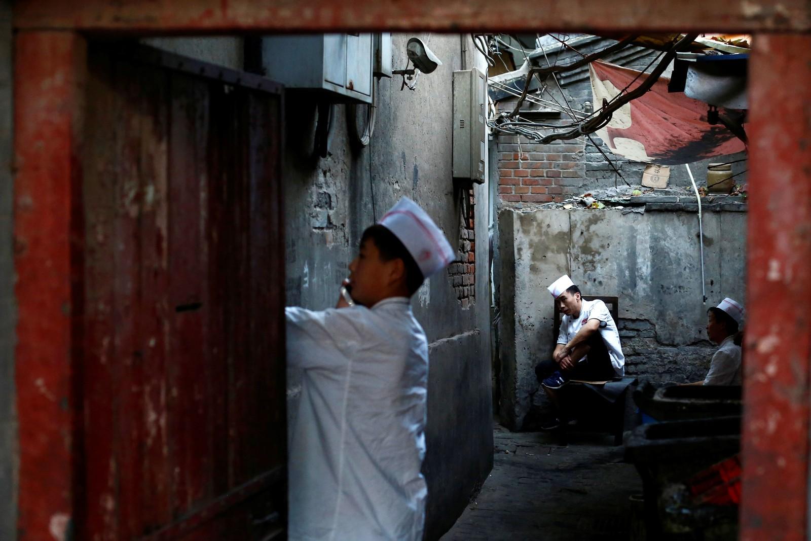 """Dette er """"pauserommet"""" til kjøkkenpersonalet ved en restaurant i Beijing i Kina den 25. august."""