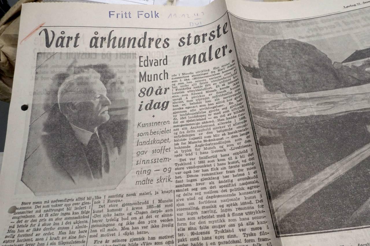 Munch-artikkel i NS-bladet Fritt Folk
