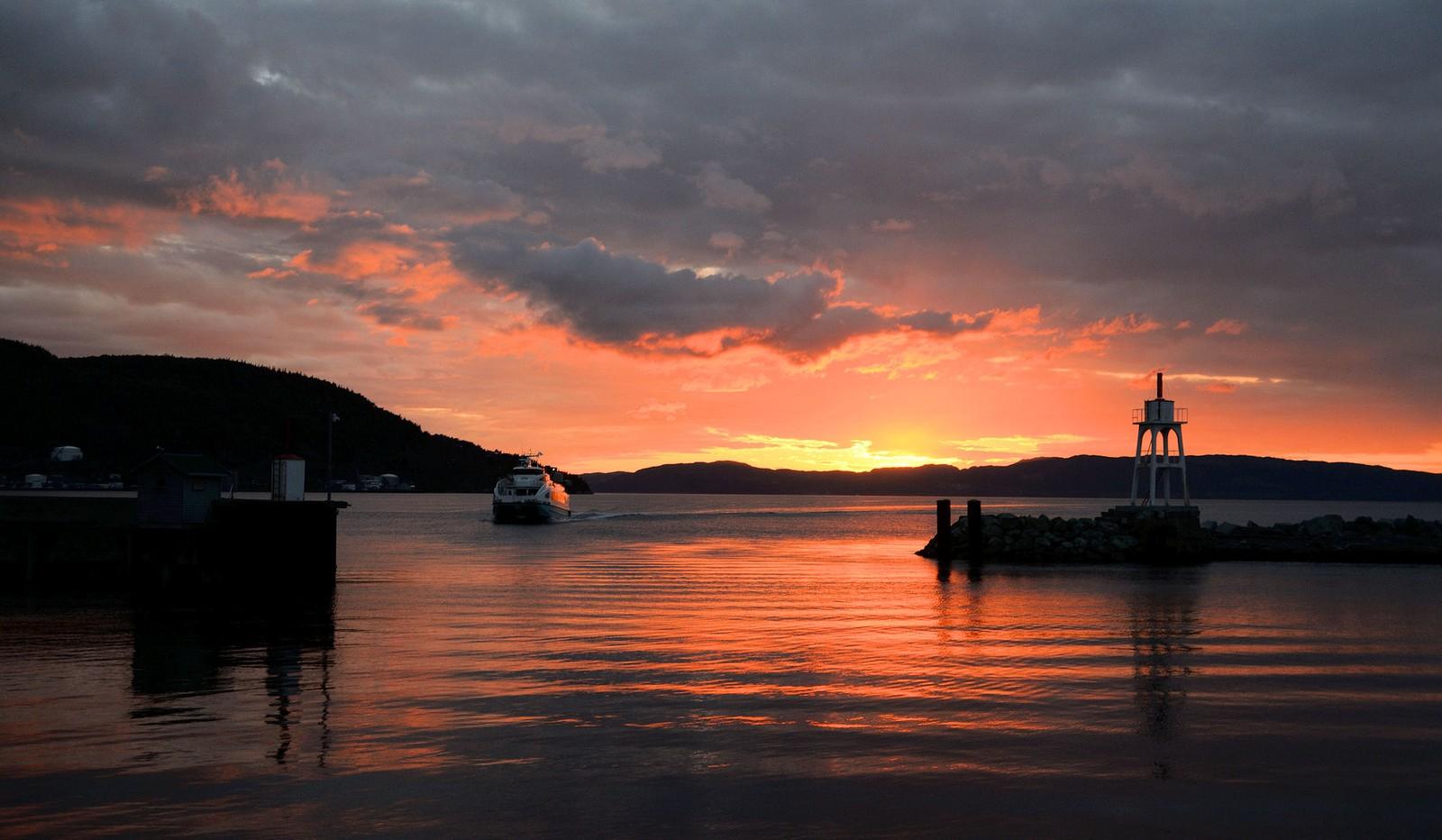 Solnedgang på Brattøra i Trondheim