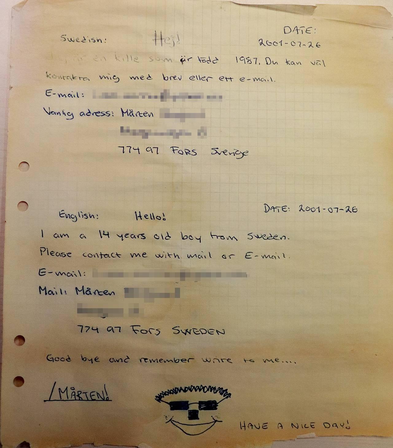 Flaskepost fra svenske Mårten, sendt i juli 2001. Han skriver blant annet