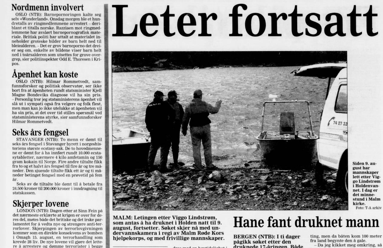 Søk etter Viggo Lindstrøm, faksimile Trønder-Avisa 3. september 1998.