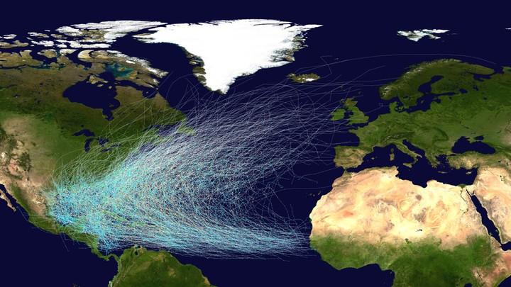 Banene til de tropiske orkanene i Atlanterhavet 1851-2012. - Foto: National Hurricane Center