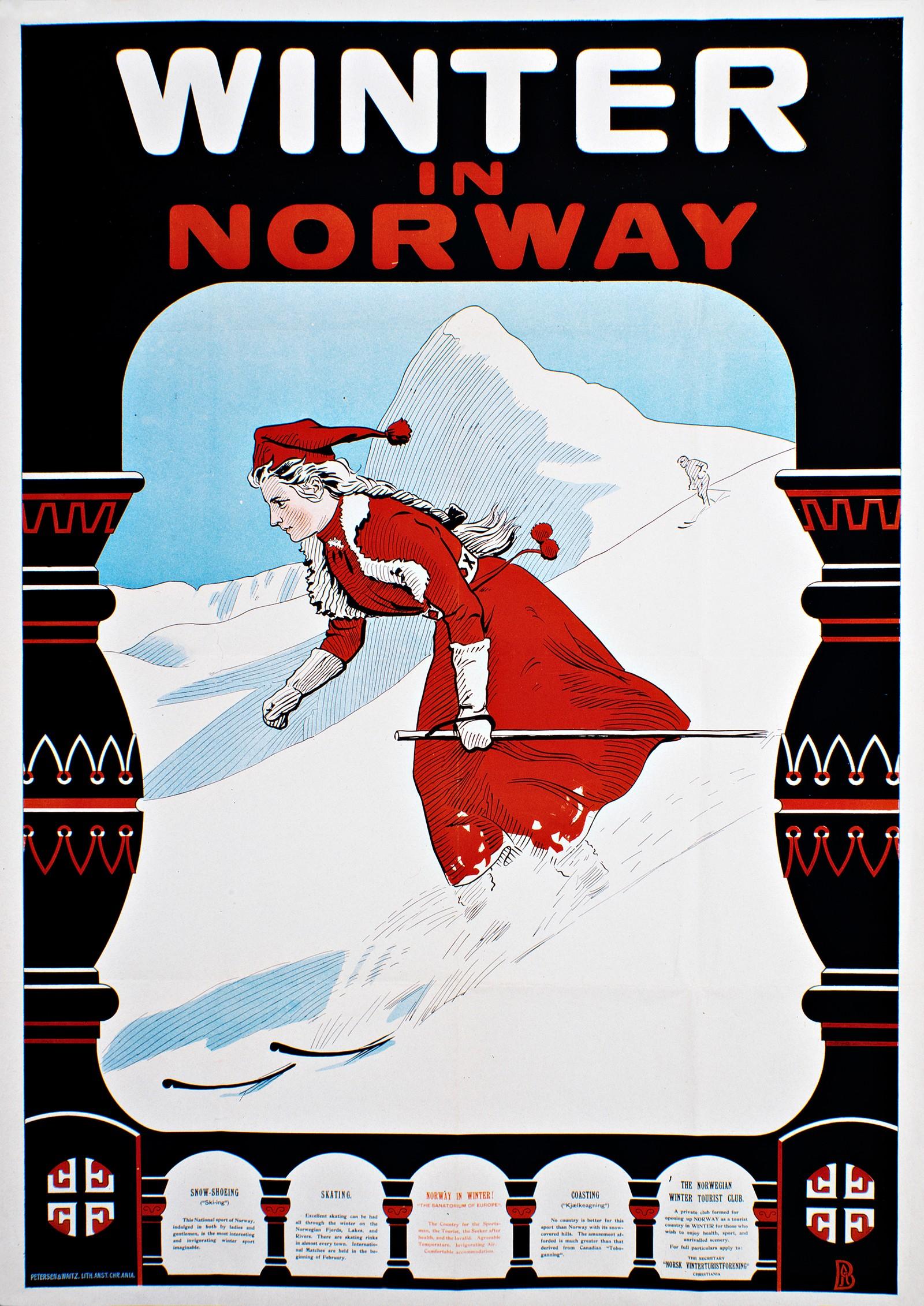 Winter in Norway. Norsk turistplakat fra 1907 av Andreas Bloch (1860-1917) beregnet på et britisk publikum.