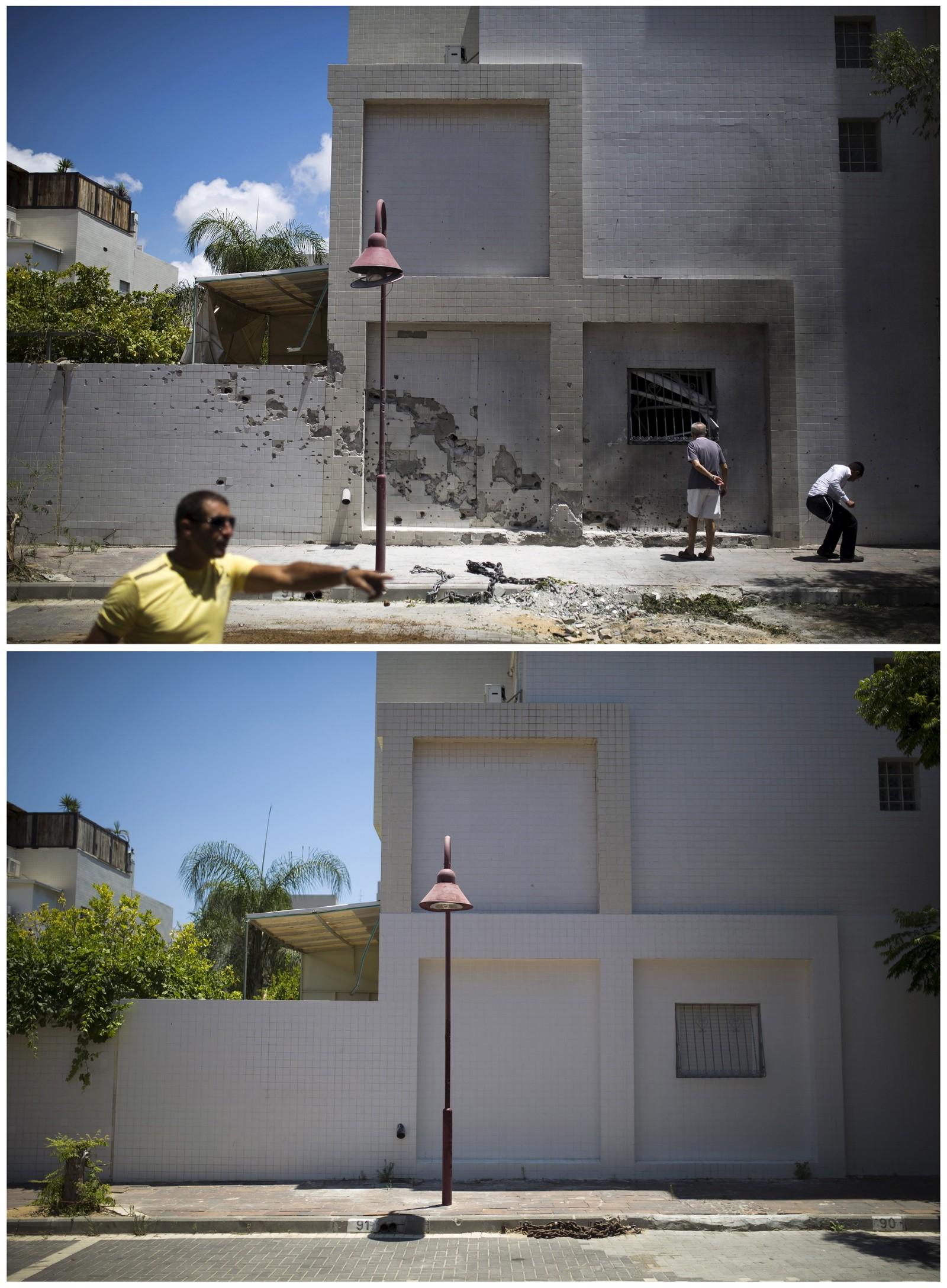 Israelere i Ashdod samler seg rundt stedet der en rakett avfyrt fra Gazastripen landet 14. juli i fjor. Ett år senere (bildet under) er det få tegn til dramatikken som utspilte seg forrige sommer.