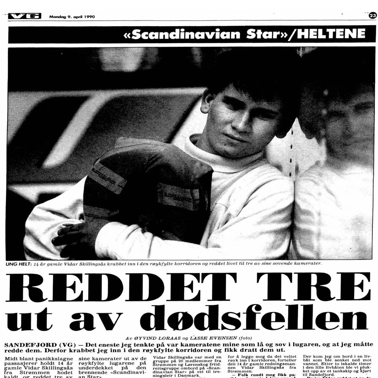 Faksimile fra VG 9. april 1990.