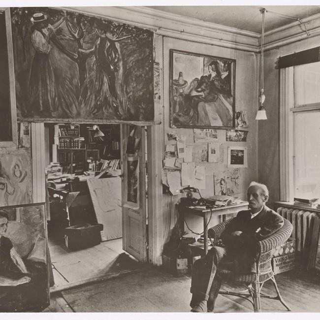 Edvard Munch i stova heime på Ekely i 1943