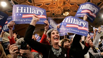 Jubel blant Hillary Clinton supportere
