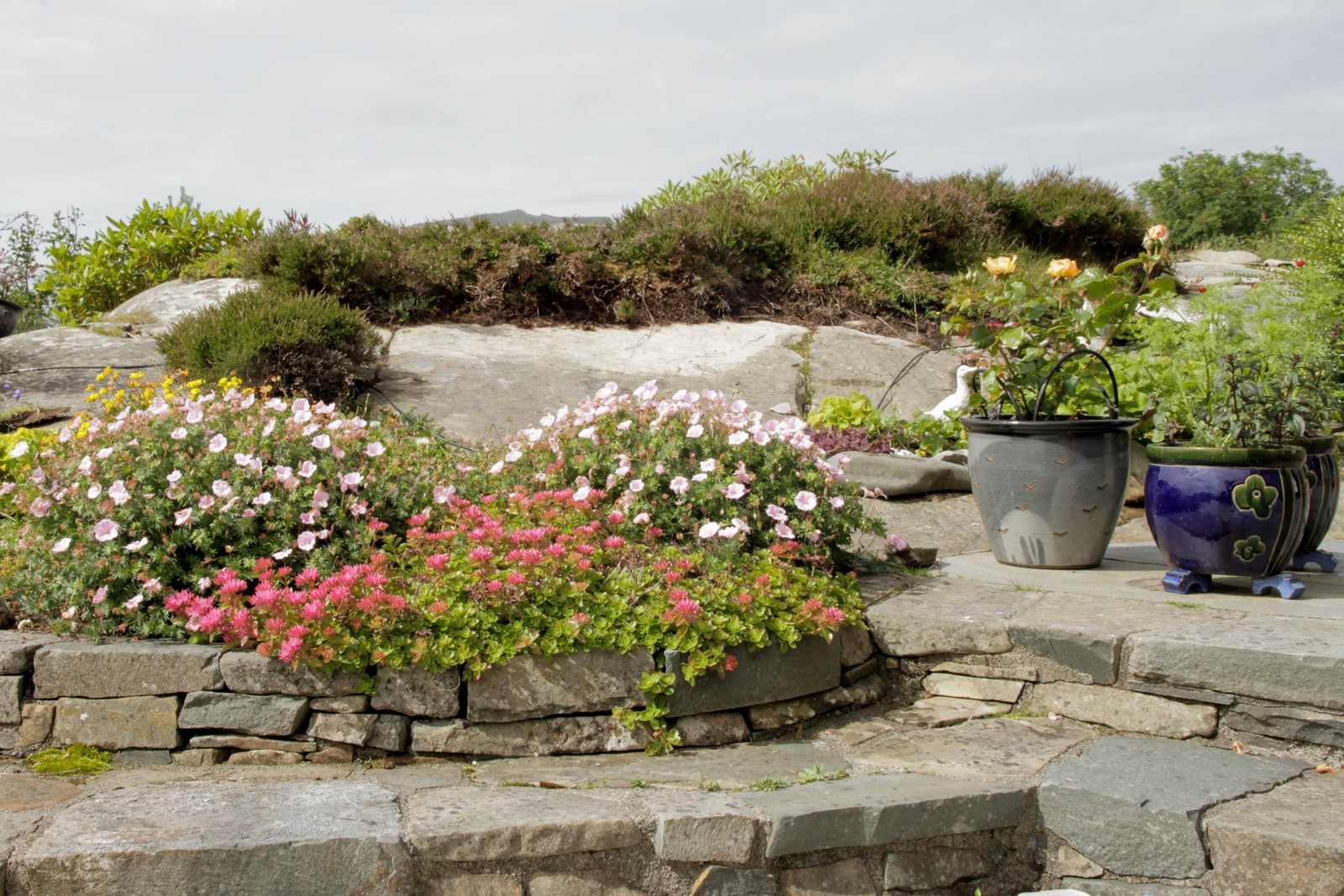 Mellom berg og stein har paret bygd hagen i trapper.