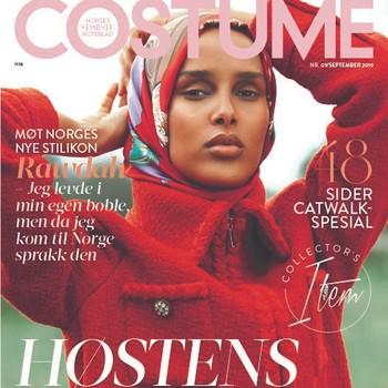 Rawdah Mohamed på forsiden av september-utgaven av Costume