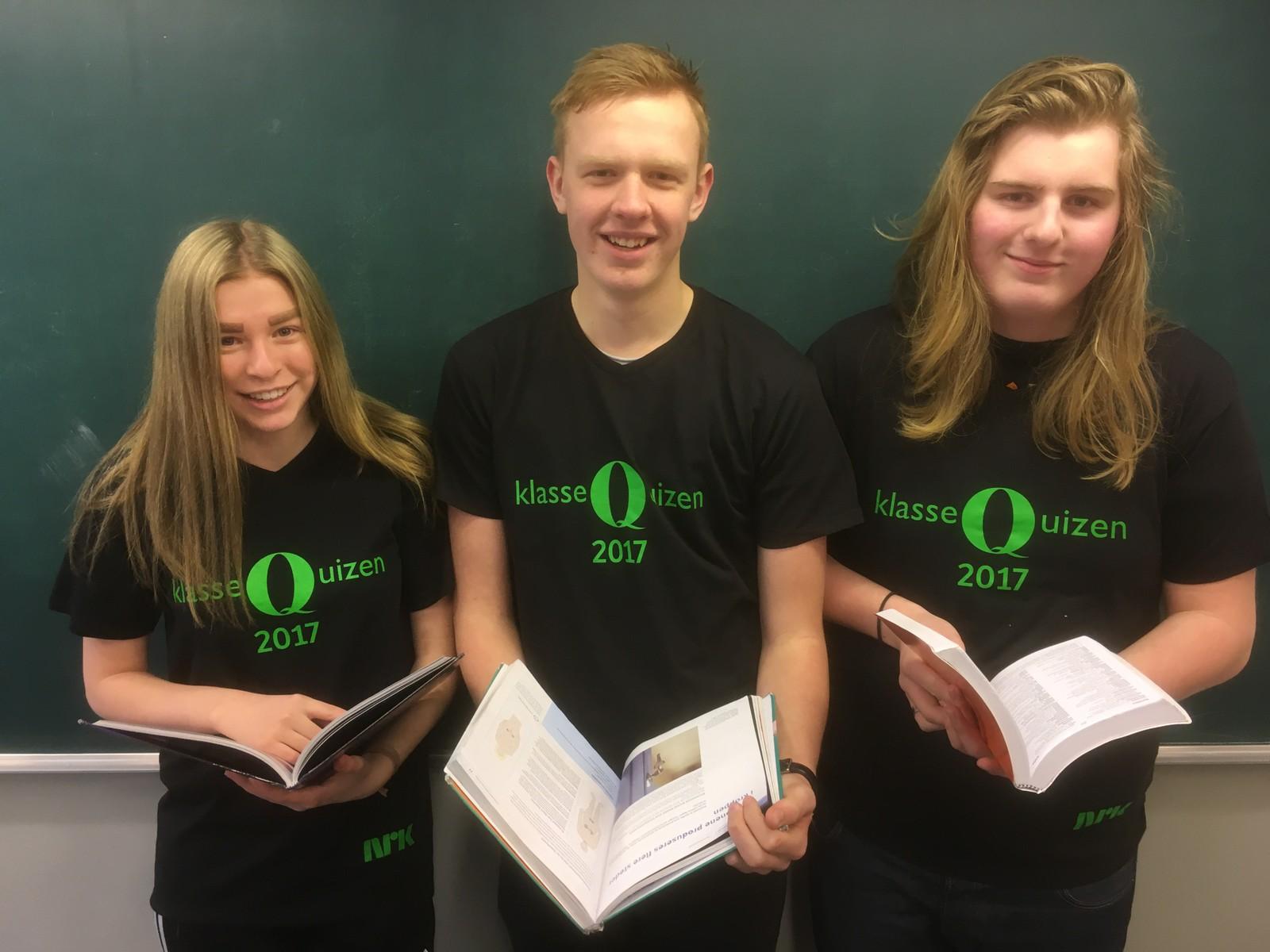 Karoline Rudsdammen, Hermann Hansen og Henning Dagfinrud fra Nord-Odal ungdomsskole fikk sju rette.