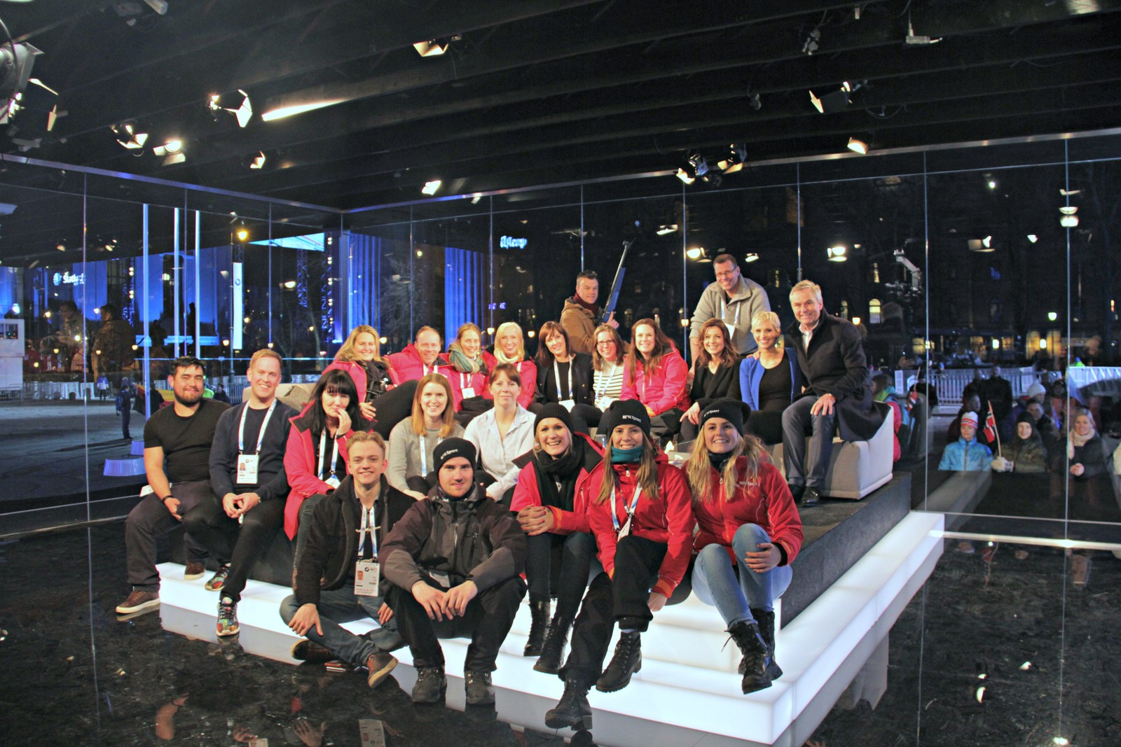 Medal plaza 12 March. The NRK national crew in the studio.