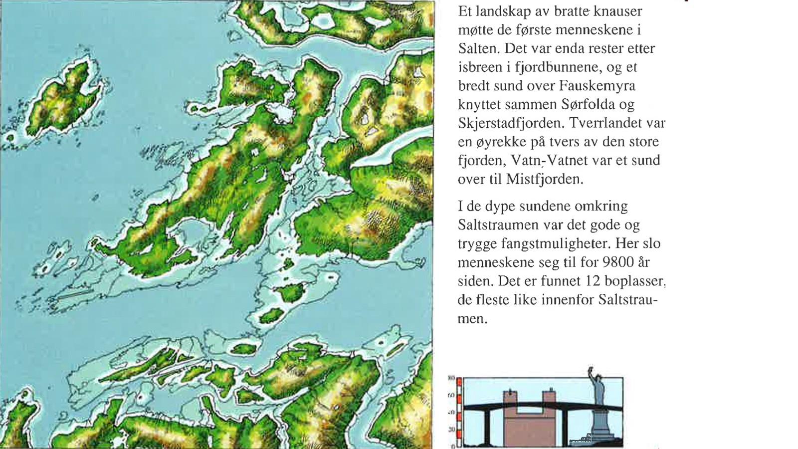 For 9500 år siden var havnivået 80 meter høyere enn i dag. Fra heftet «Spor ved Saltstraumen gjennom 10.000 år» av Hein Bjartmann Bjerck.