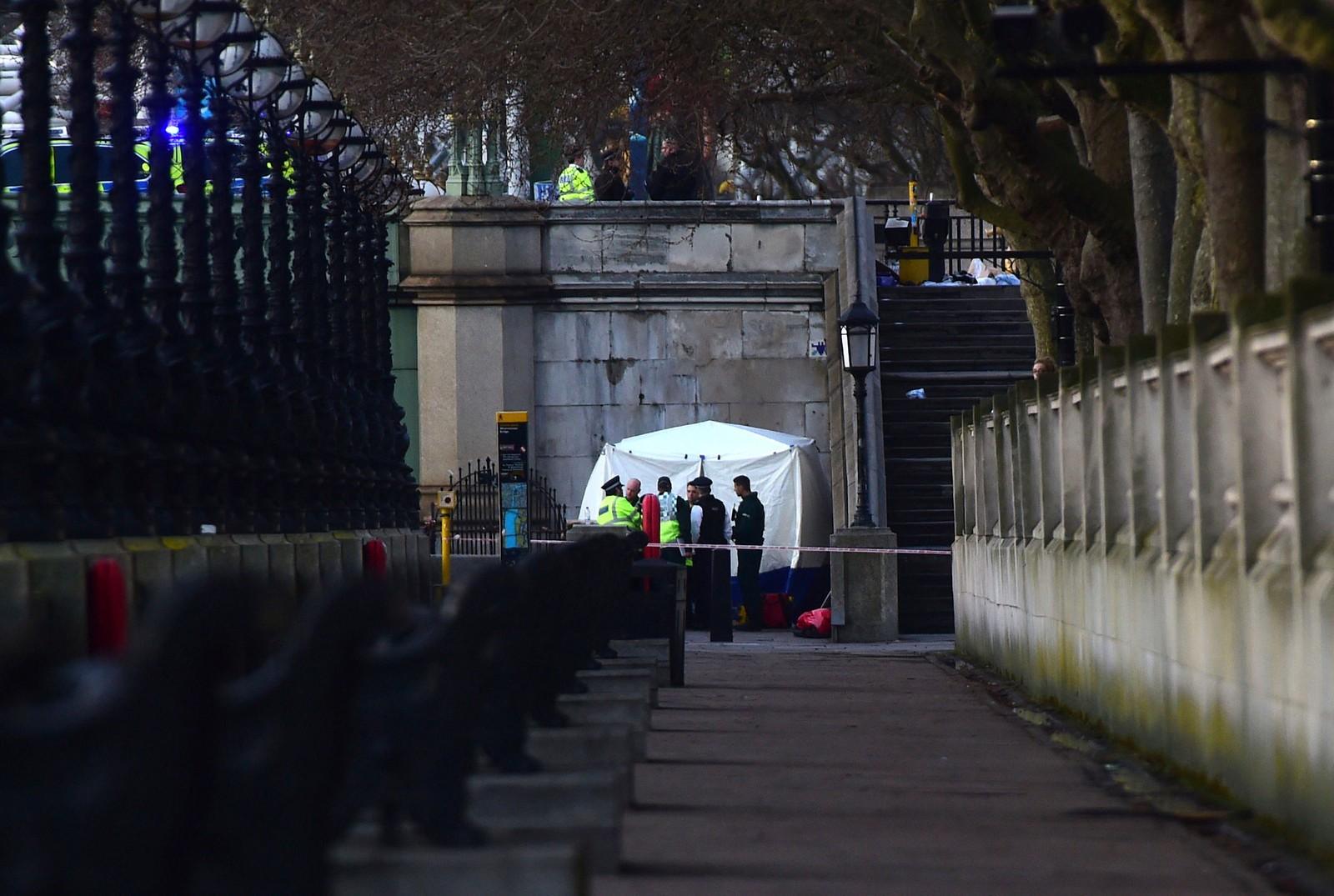 Krimteknikerne har satt opp et telt ved St Thomas' Hospital i nærheten av parlamentsbygningen.