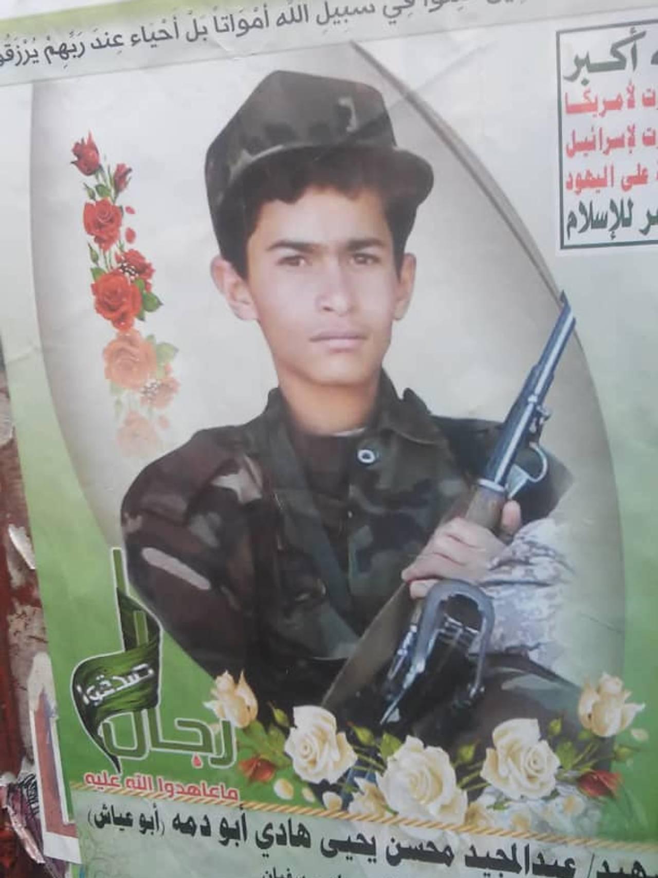 Barn på plakat som er drept i krig.