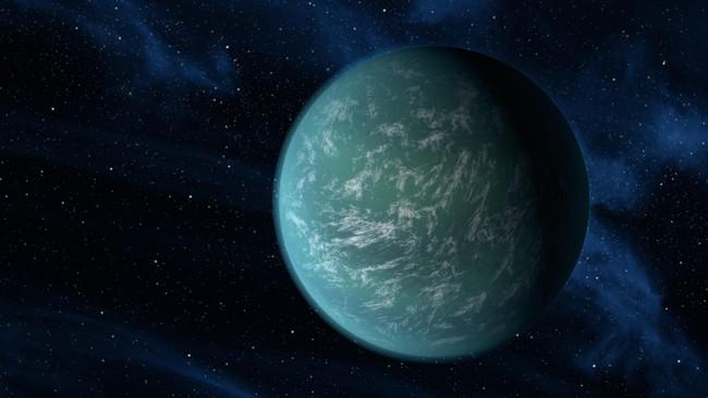 NASAs forskere tror den nyoppdaget planeten Kepler-22b ser slik ut. Foto: NASA/Ames/JPL-Caltech