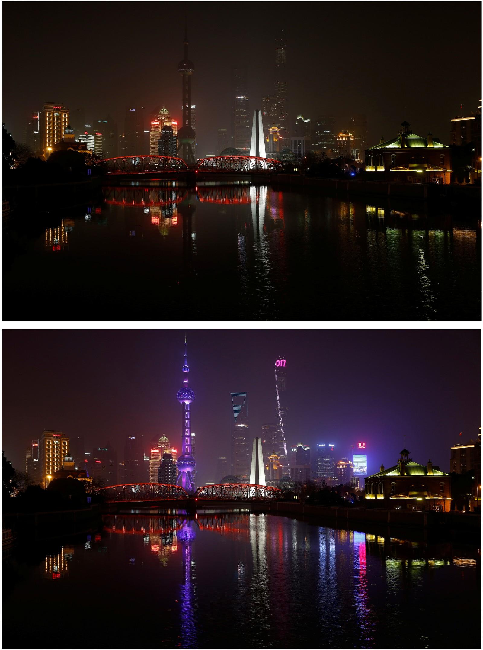 Huangpu River, Shanghai i Kina.