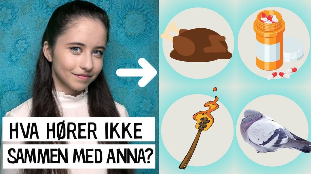 Hva hører ikke sammen med Anna fra ZombieLars? Kalkun, piller, fakkel eller due?