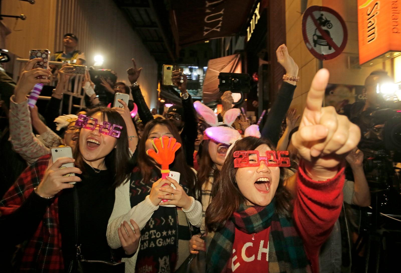 Klokken 17.00, norsk tid, var det duket for nyttårsfeiring i Hong Kong i Kina.