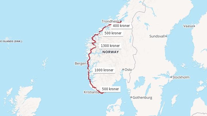 bomstasjoner trondheim kart Kristiansand Trondheim: 3700 kroner i bompenger for å kjøre  bomstasjoner trondheim kart