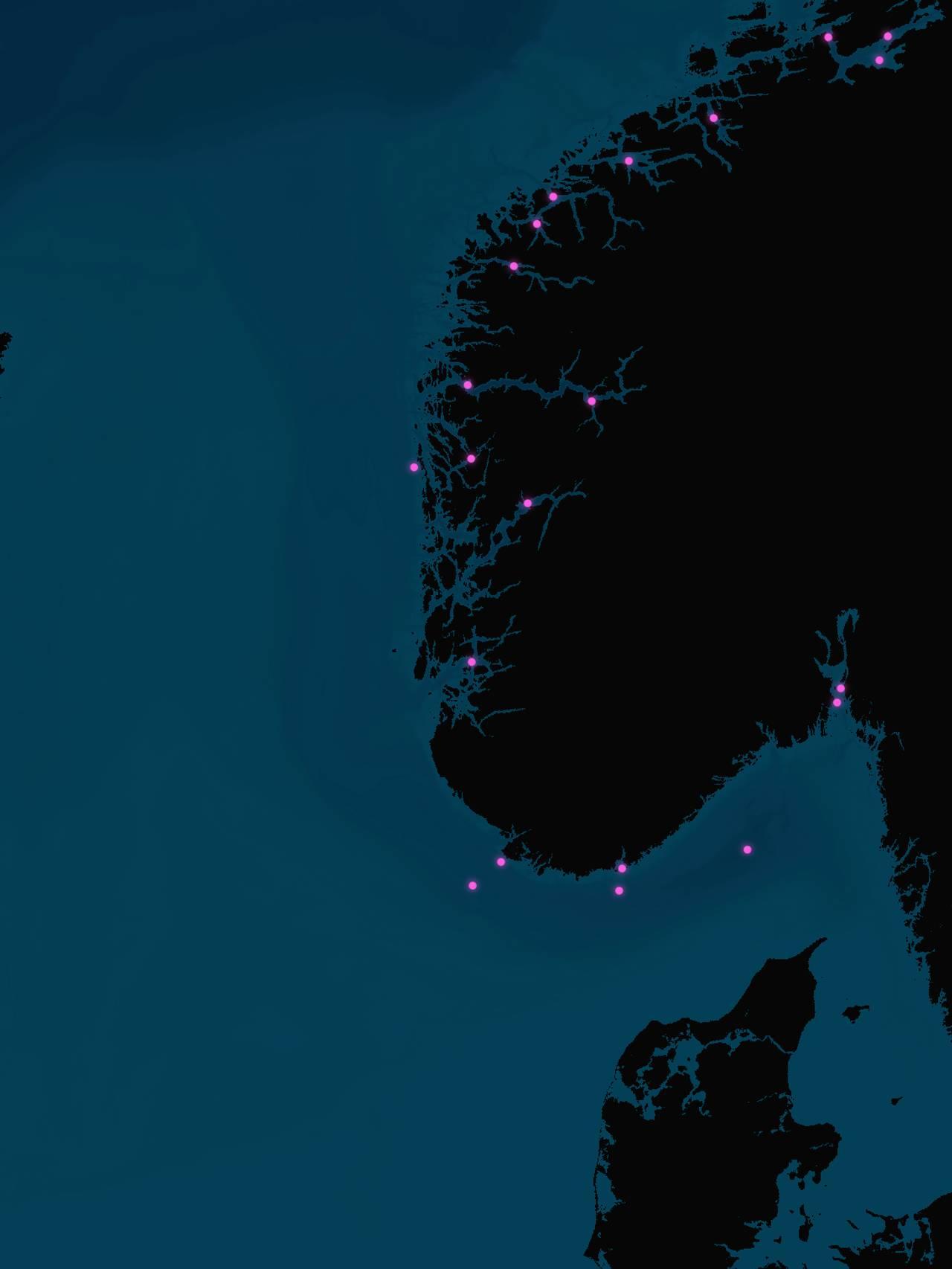 Kartet viser dumpfelt i Nordsjøen.