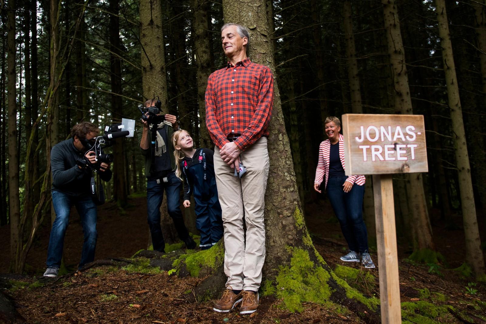 Jonas Gahr Støre (Ap) leker gjemsel under et besøk i Haugesund turistforening og barnehage i Djupadalen tirsdag formiddag i forbindelse med Arbeiderpartiets valgkampturné på Vestlandet. Her blir partilederen funnet av Natalie Langøy Dommersnes (6) og lokalpolitiker Hege Haukeland Liadal (Ap) (t.h) bak «Jonas-treet» som var treet han gjemte seg bak da han var på tilsvarende besøk i Djupadalen i 2013.