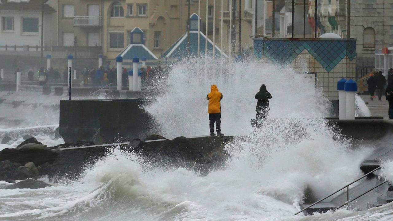 Waves crash against the breakwater during Storm Ciara at Wimereux