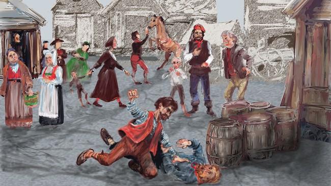 Lærdalsmarknaden var årets høgdepunkt for både lærdøler og dei mange tilreisande. Mange tok godt føre seg av brennevin, og slagsmål var ikkje uvanleg. Illustrasjon: Bernt Kristiansen.