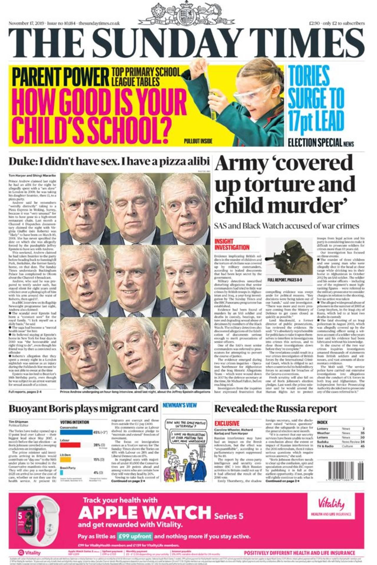 Forsiden av Sunday Times