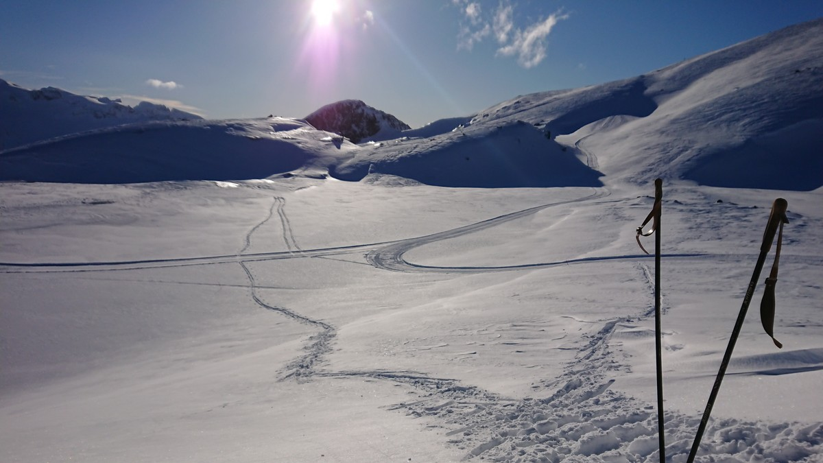 Skispor og skistaver på Glomfjordfjellet påska 2018.