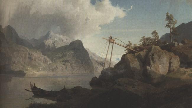 Hans F. Gude: Fisker med laksevarp 1857. Truleg er motivet frå Lustrafjorden. © Blomqvist Kunsthandel.