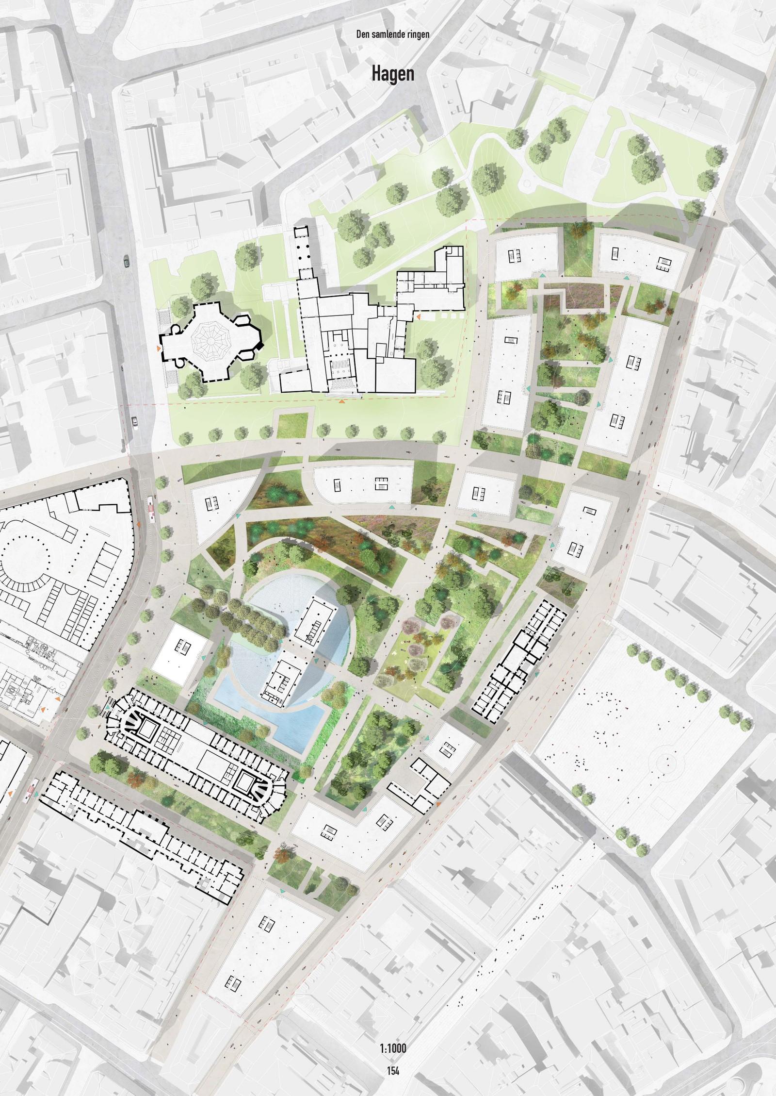 NUMMER 4 - MVRD: MVRDVs forslag legger opp til mye grønt. Tanken bak er at statsapparatets bygninger ikke skal være ruvende og autoritære.