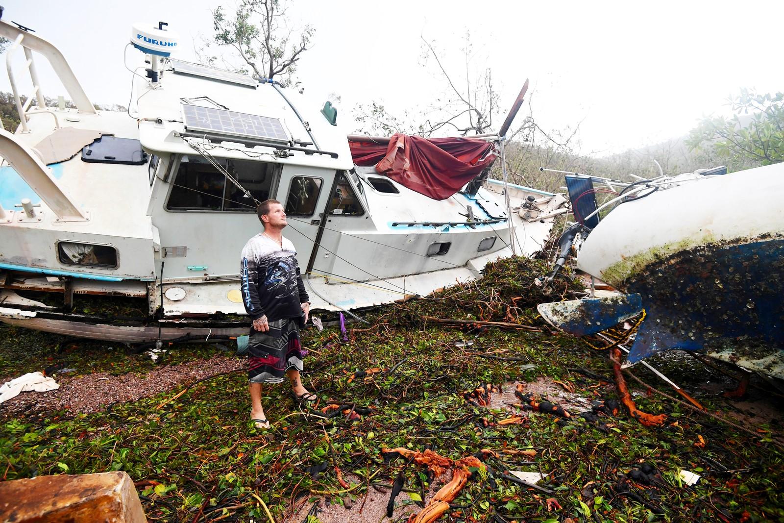 Airlie Beach i Queensland ble hardt rammet av syklonen.