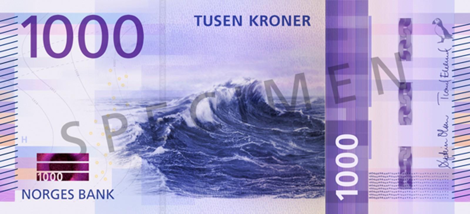 Hovedmotivet på 1000-kroneseddelen er en bølge på åpent hav. 1000-kroneseddelen skal tas i bruk 4. kvartal 2019.