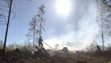 SKOGBRANN: Brannvesenet veit ikkje korleis Skogbrannen i Lunner starta, men politiet opplyser at det vart brent noko i hogstfeltet kring påske. Dei vil no undersøke om noko kan ha ulma og teke fyr att.