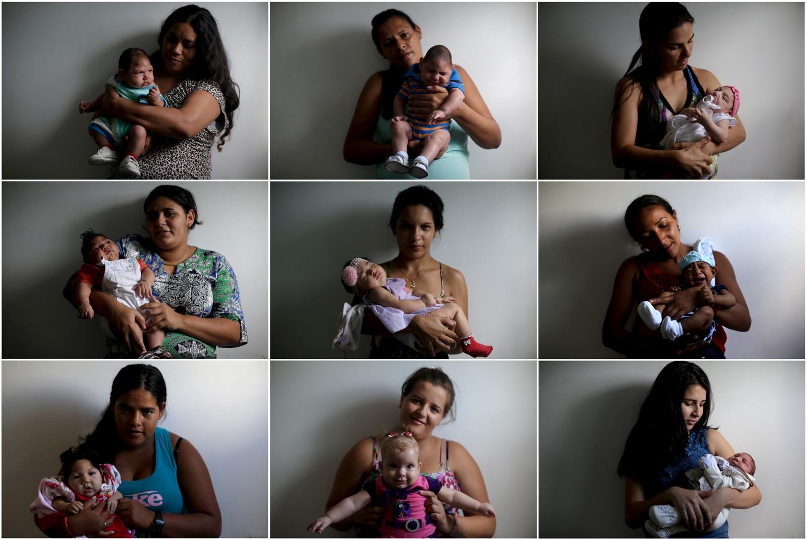 Brasilianske mødre viser fram sine nyfødte, som er født med mikrokefali, på et sykehus i Campina Grande. Zika-viruset ble mye omtalt i 2016. Det kan føre til at barn blir født med den nevrologiske lidelsen mikrokefali.