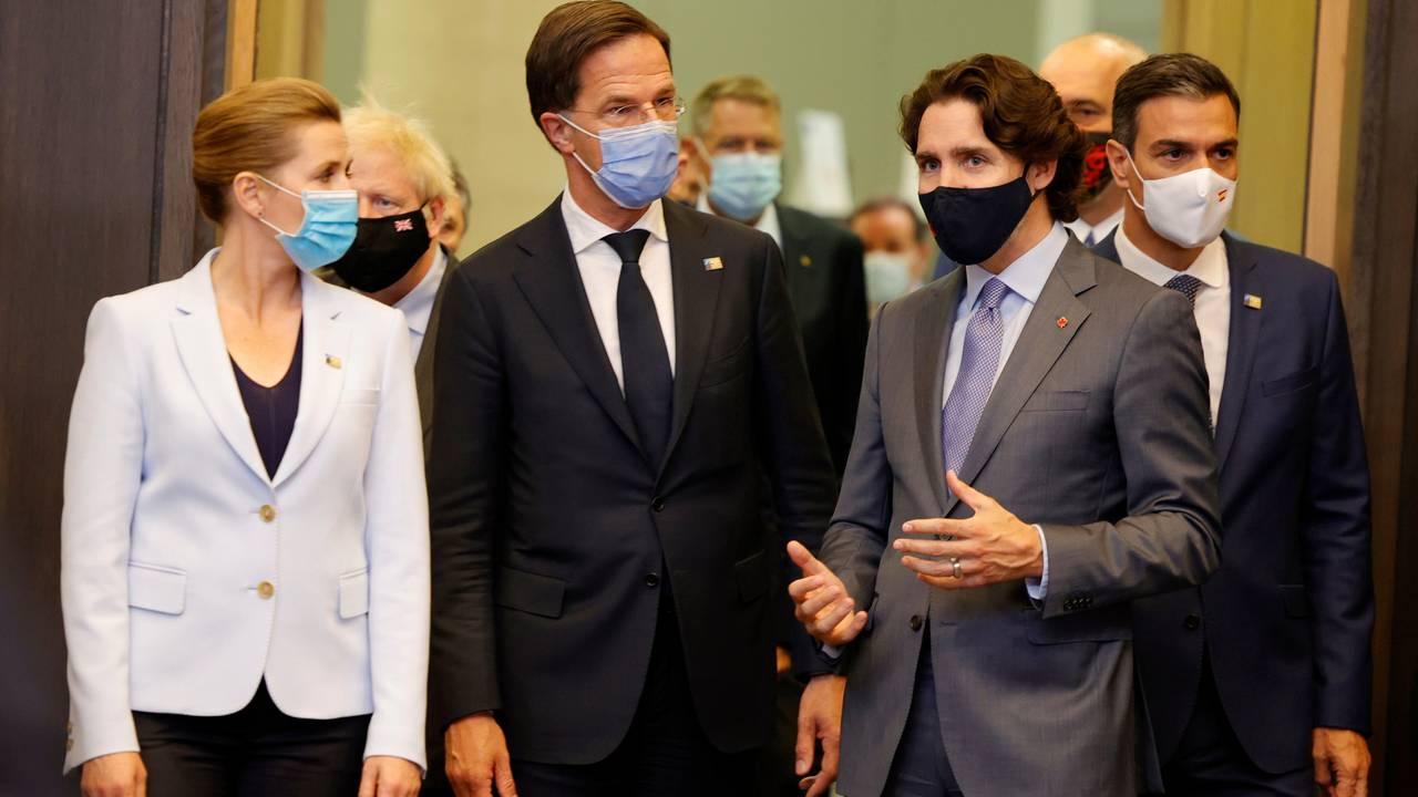 Danmarks statsminister Mette Frederiksen, Nederlands statsminister Mark Rutte, Canadas statsminister Justin Trudeau og Spanias statsminister Pedro Sanches.