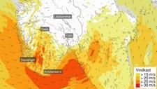 STORE OMRÅDE: Rogaland, Sørlandet og Austlandet får kraftig vind utpå fredagen. Vindkasta kan komme opp i 162 kilometer i timen.